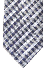 Tom Ford Tie Dark Blue Powder Blue Silver Stripes Design