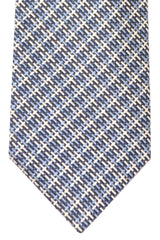 Tom Ford Tie Dark Blue Blue Navy Silver Geometric Design