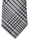 Turnbull & Asser Tie Dark Navy Cream Houndstooth Cotton Silk - FINAL SALE