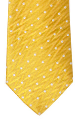 Turnbull & Asser Tie Yellow White Silver Dots