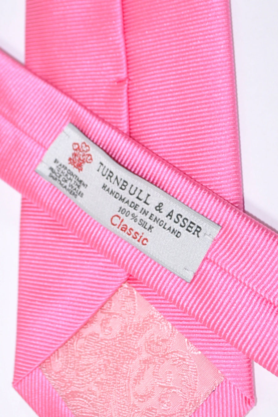 Turnbull & Asser Tie Solid Pink Grosgrain SALE