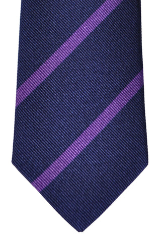 Turnbull & Asser Tie Navy Purple Repp Stripes
