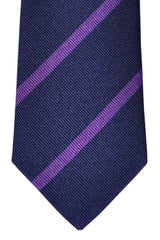 Turnbull & Asser Tie Navy Purple Stripes
