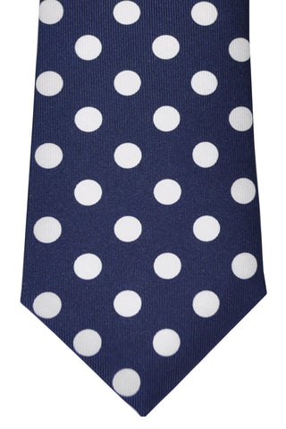 Turnbull & Asser Tie Navy White Polka Dots