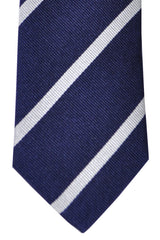 Turnbull & Asser Tie Navy White Silver Stripes