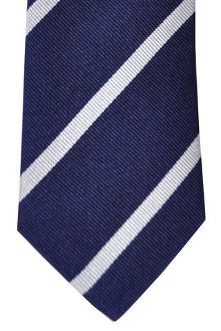 Turnbull & Asser Tie Navy Silver Stripes
