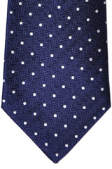 Turnbull & Asser Extra Long Tie Navy White Dots