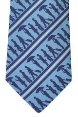 Turnbull & Asser Tie Blue Navy Silver Stripes