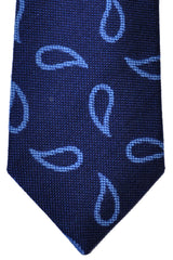 Turnbull & Asser Tie Navy Sky Blue Paisley Wool Blend