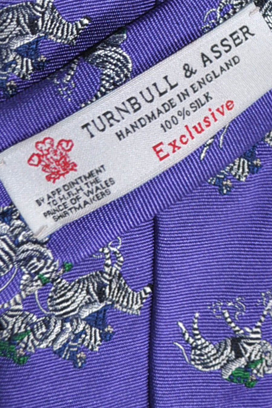 Turnbull & Asser Tie Purple Zebra Design FINAL SALE