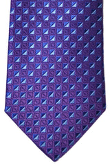 Turnbull & Asser Tie Purple Navy Blue Geometric Silk Blend