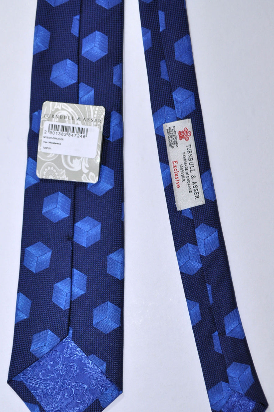 Turnbull & Asser Tie Navy Geometric Silk Blend