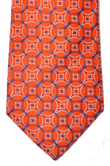 Turnbull & Asser Tie Orange Navy White Silver Geometric
