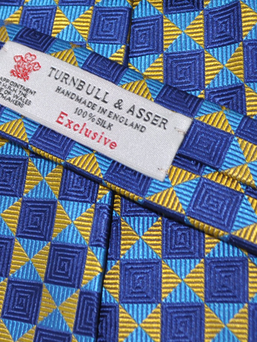 Turnbull & Asser Tie Navy Aqua Yellow Geometric