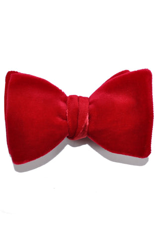Turnbull & Asser Velvet Bow Tie - Red Self Tie Bow Tie