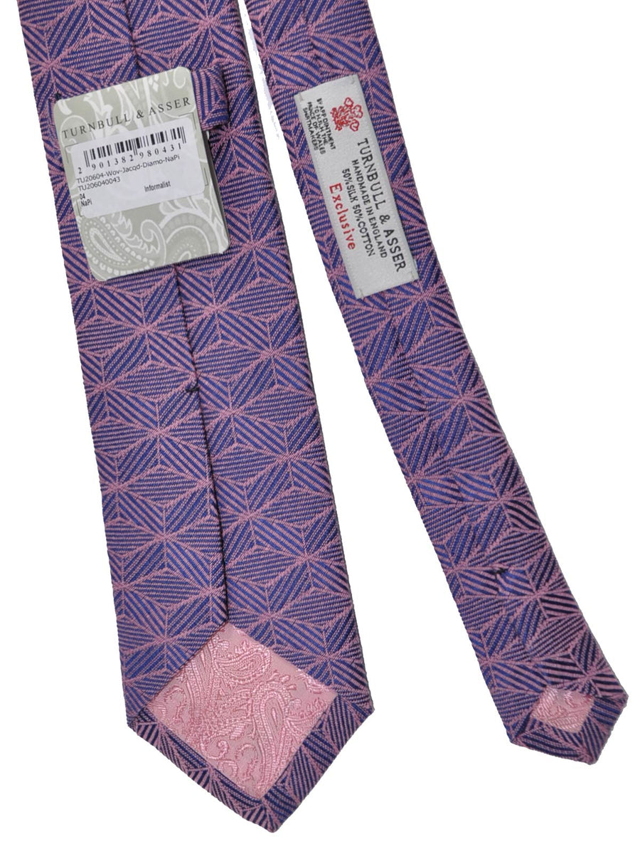 Turnbull & Asser Tie Purple Pink Geometric Cotton Silk