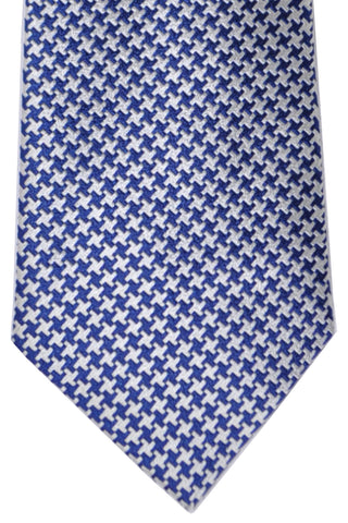 Turnbull & Asser Extra Long Tie Navy Silver Houndstooth