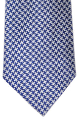 Turnbull & Asser Extra Long Tie Navy White Houndstooth