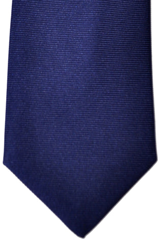 Turnbull & Asser Extra Long Tie Twill Silk Solid Navy