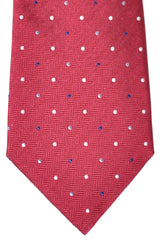 Valentino Tie Dark Red Navy Silver Dot