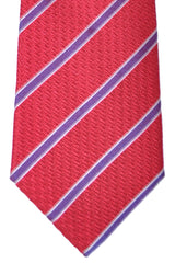 "Valentino Tie Red ""V"" Purple Silver Stripes"