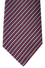 Valentino Silk Tie Navy Red Silver Geometric Stripes