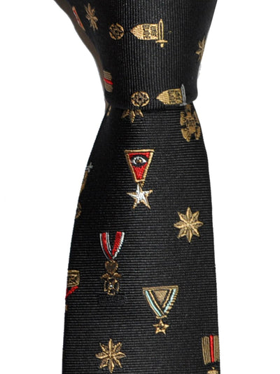 Valentino Tie Medals Design Skinny Military Decorations Necktie