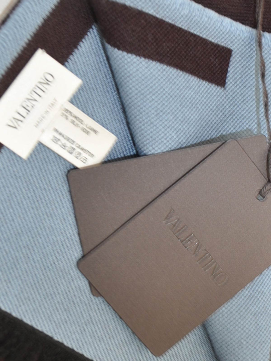 Valentino Scarf Maroon/ Sky Blue VLTN Wool Silk Shawl 2018 Men Collection