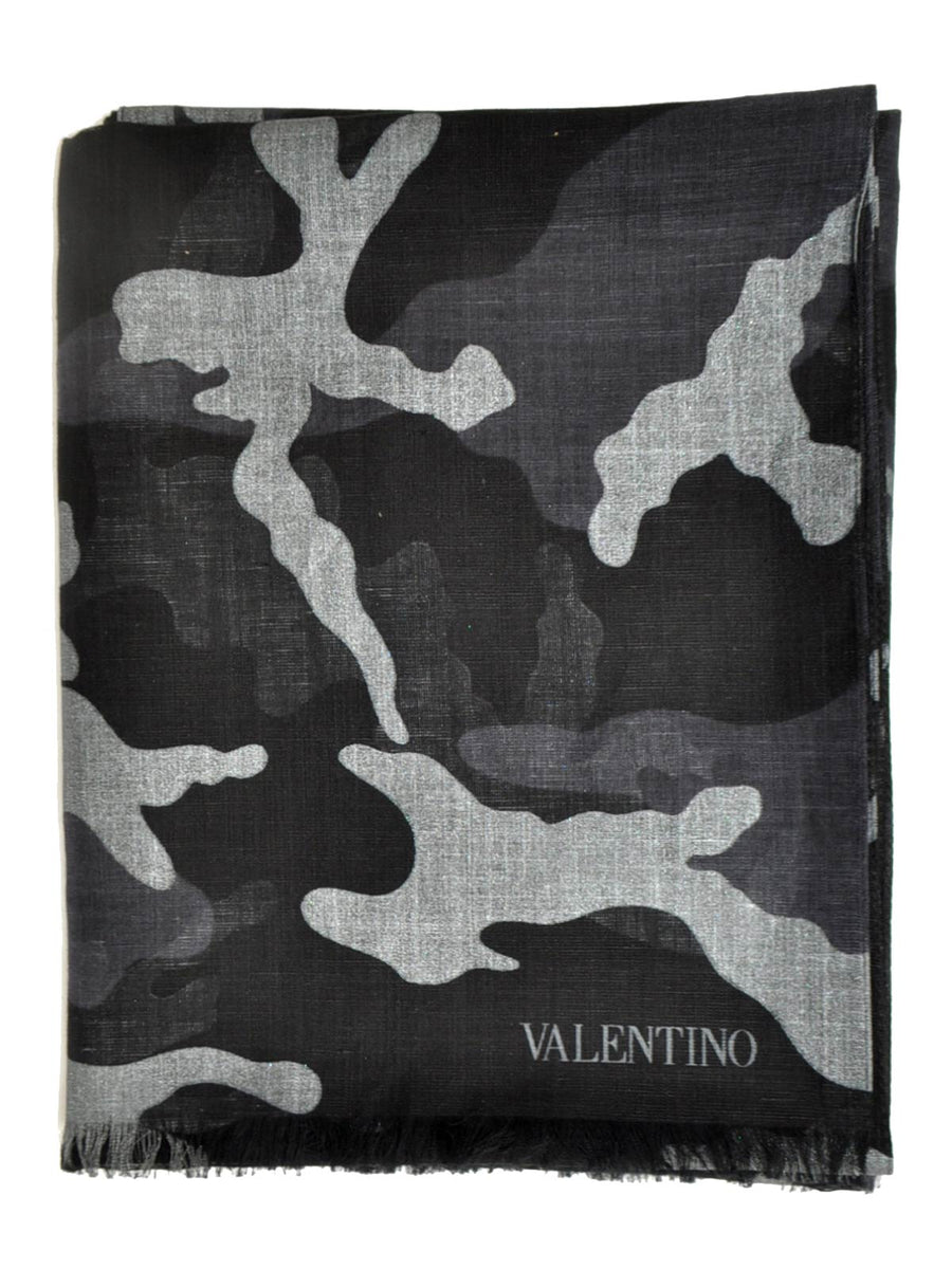 Valentino Scarf Black Gray Camouflage Design Linen Cotton 2018 Collection