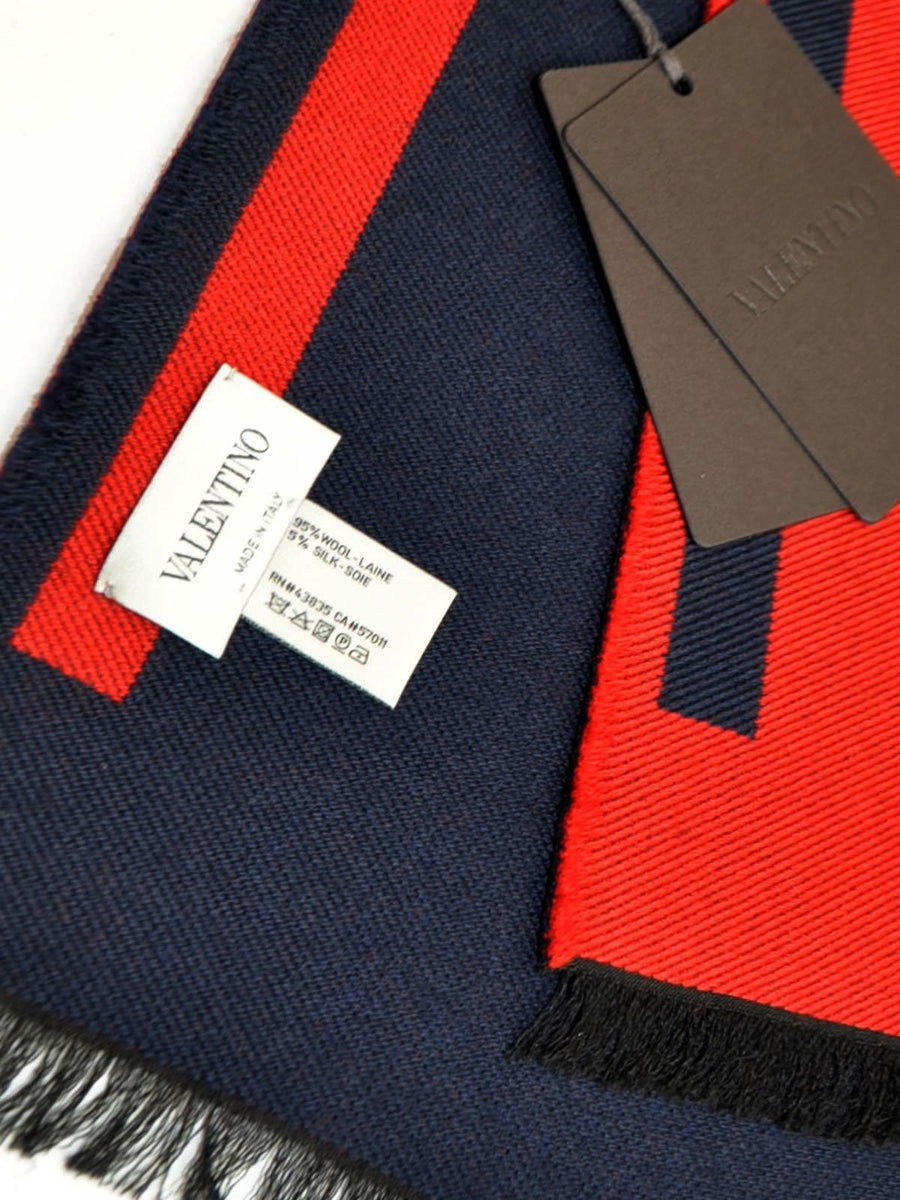 Valentino Scarf Red Navy VLTN Wool Shawl 2018 Men Collection