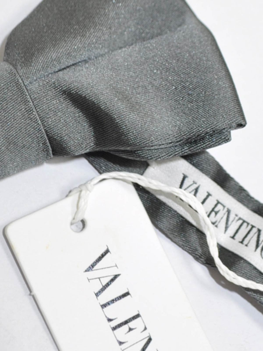 Valentino Silk Bow Tie Solid Gray SALE