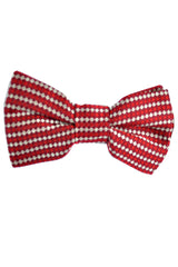 Valentino Silk Bow Tie Maroon Red Silver - FINAL SALE