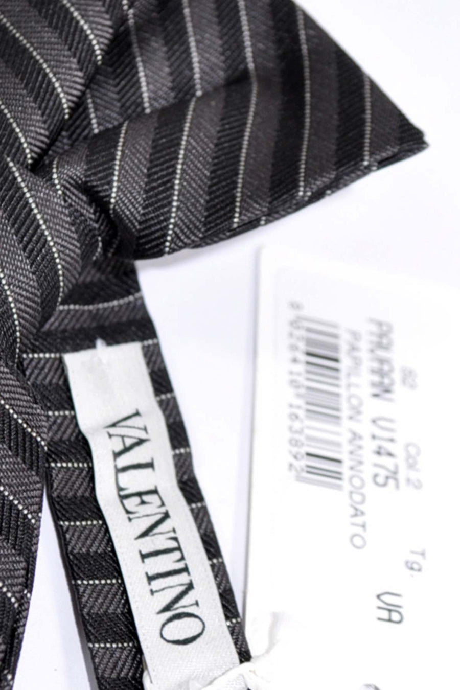 Valentino Bow Tie Gray Silver Stripes SALE