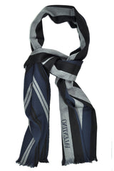 Valentino Wool Scarf Navy Gray Black Stripes