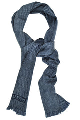 Valentino Wool Scarf Midnight Blue Gray