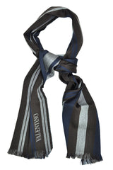 Valentino Wool Scarf Navy Brown Stripes