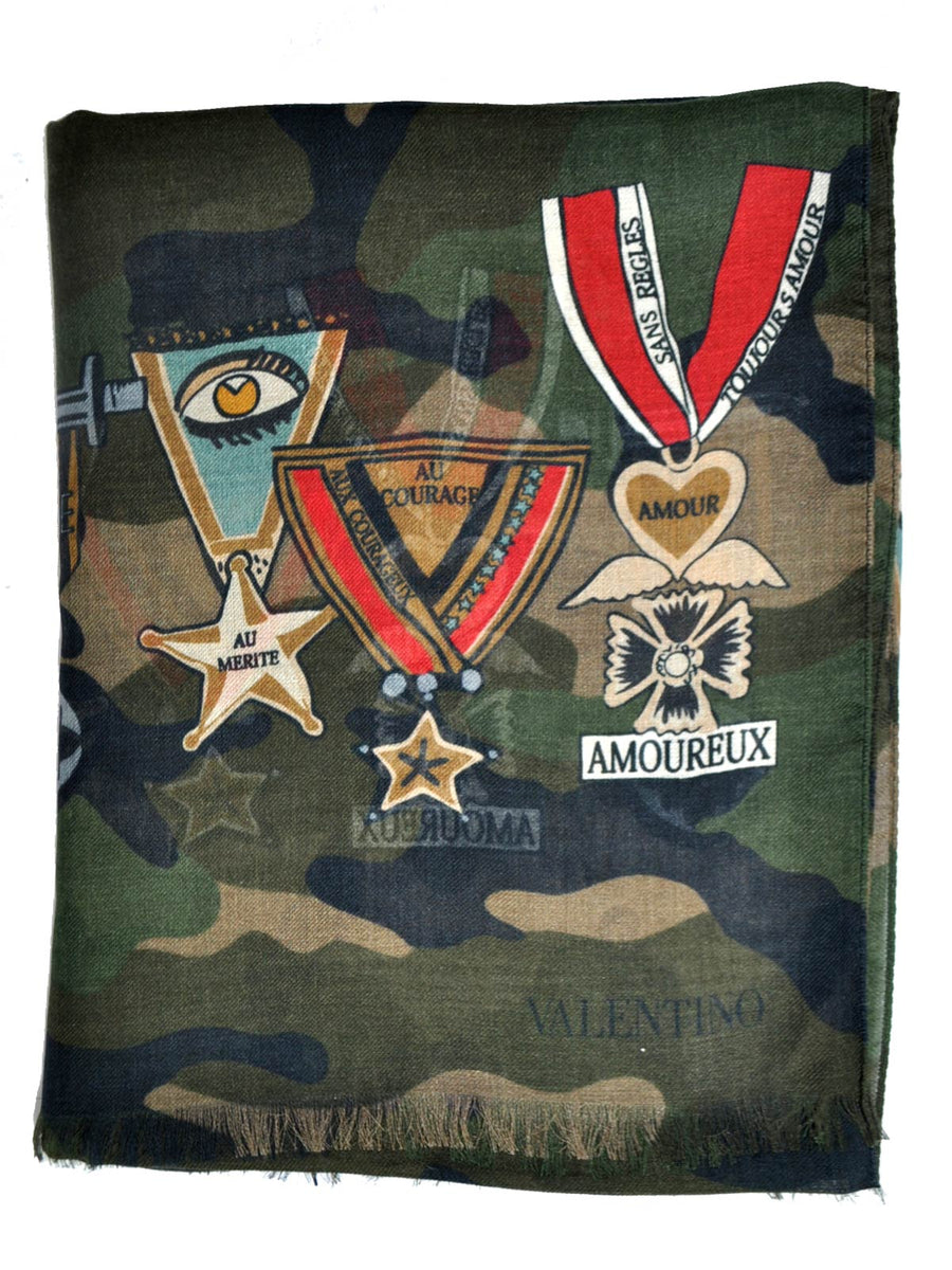 New Valentino Scarf Military Decorations Modal Cashmere
