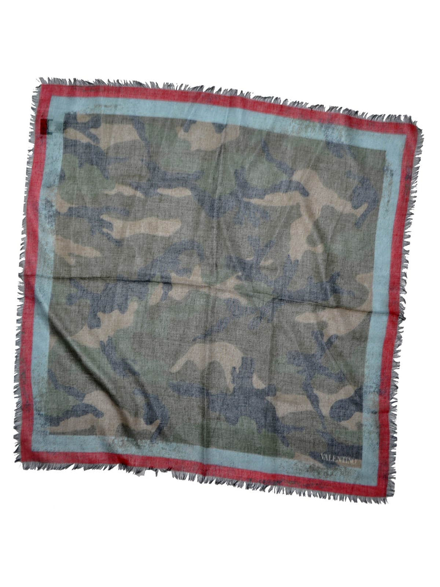 Valentino Scarf Camouflage Silk Modal Sky Blue Red Square Scarf 2018 Collection SALE
