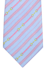 Valentino Silk Tie Sky Blue Pink Stripes SALE