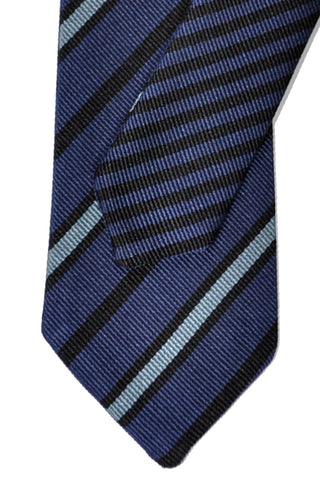 Valentino Skinny Tie Blue Black Stripes Double Duo Necktie