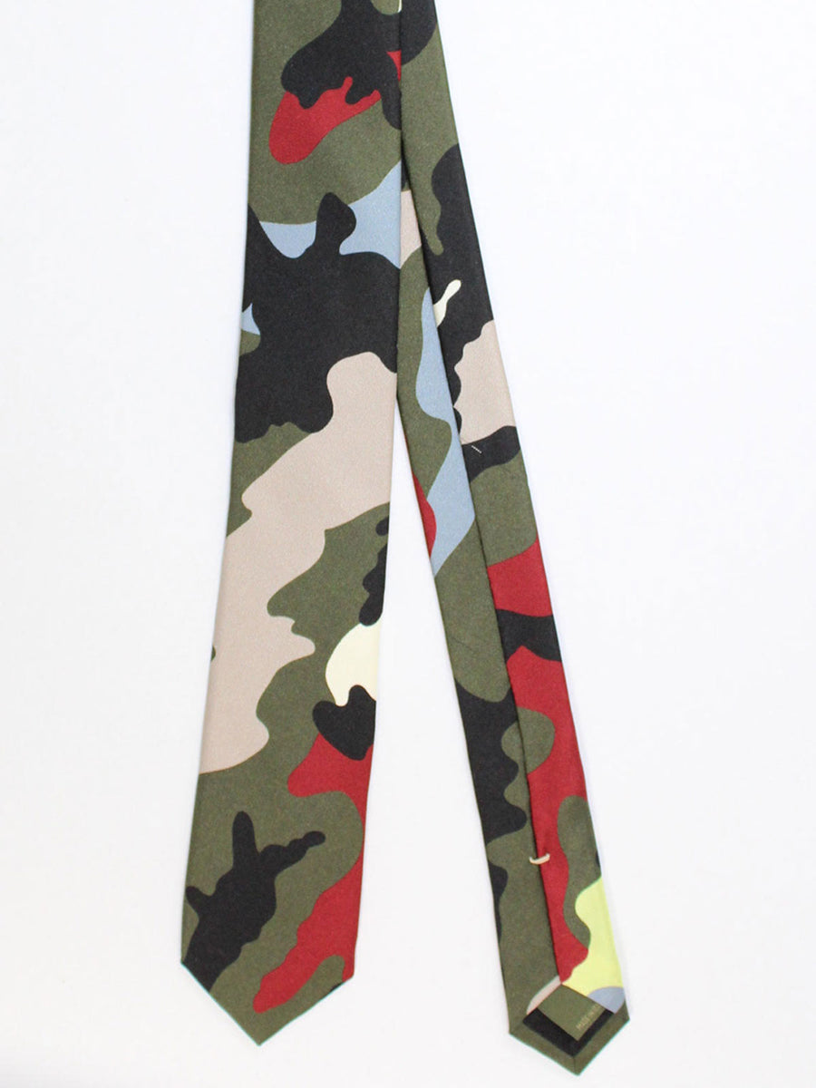 Valentino Skinny Tie - Maroon Lime Green Camouflage Design