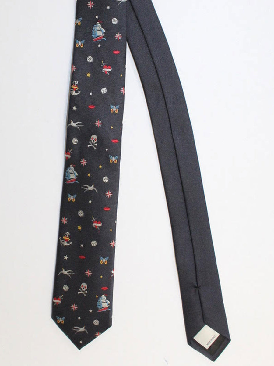 Valentino Skinny Tie - Black Sailor Design