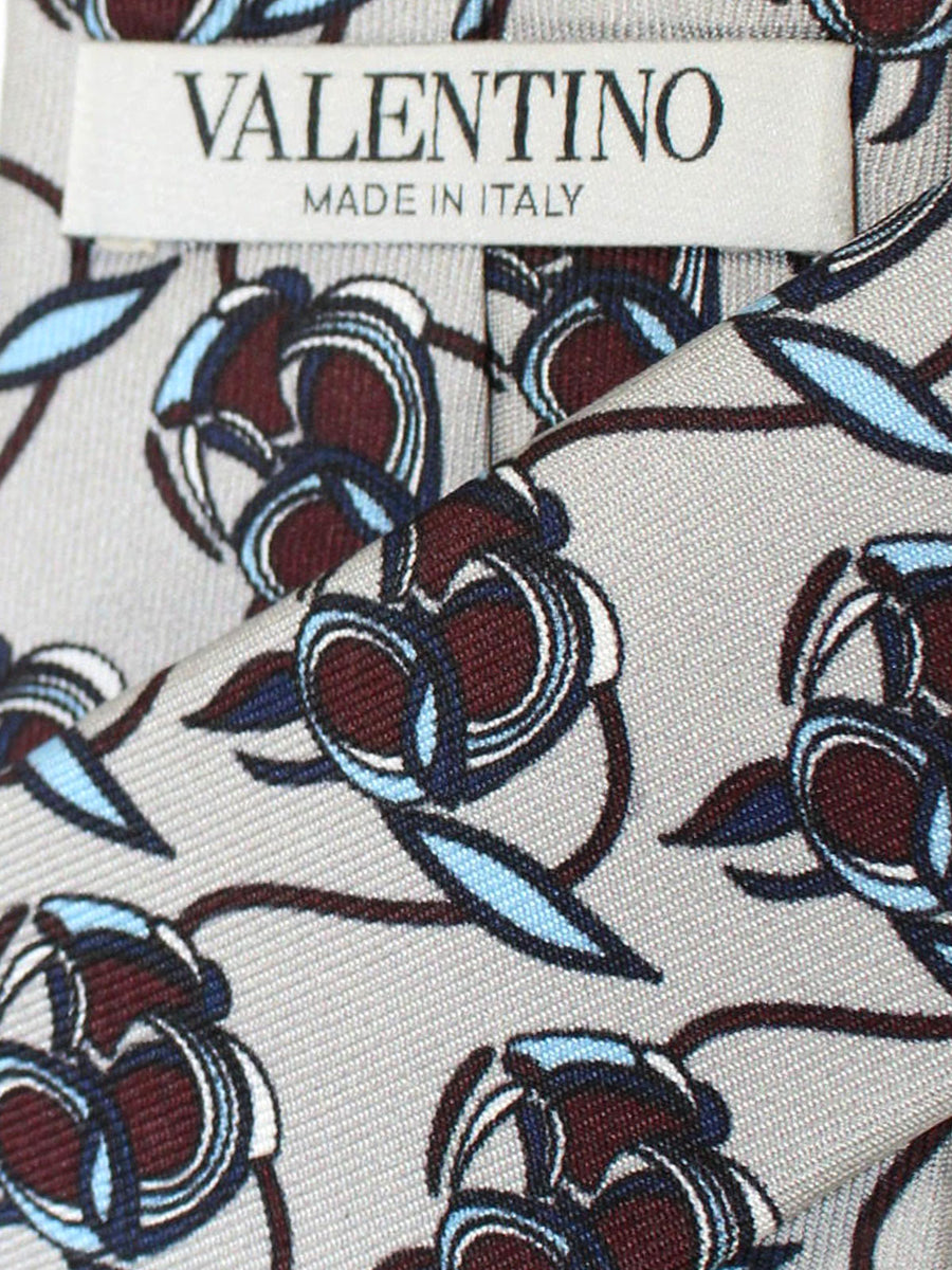 Valentino Skinny Tie - Gray Blue Brown Floral Design