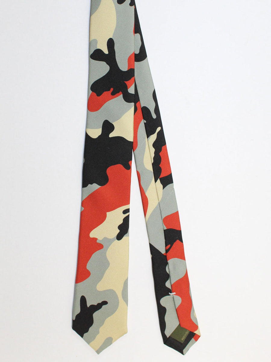 Valentino Skinny Tie - Gray Black Orange Cream Camouflage Design