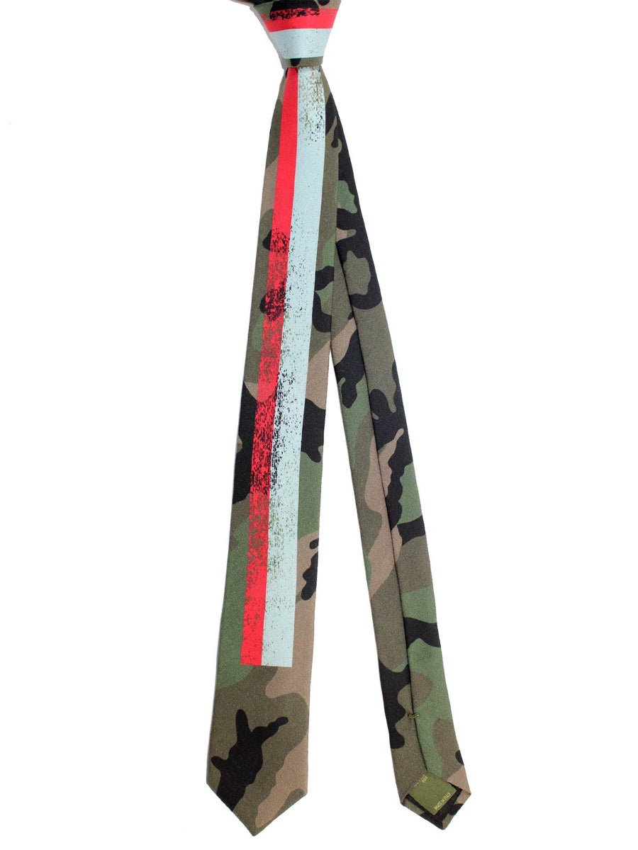 Valentino Skinny Tie - Camouflage Red Gray Stripes Design