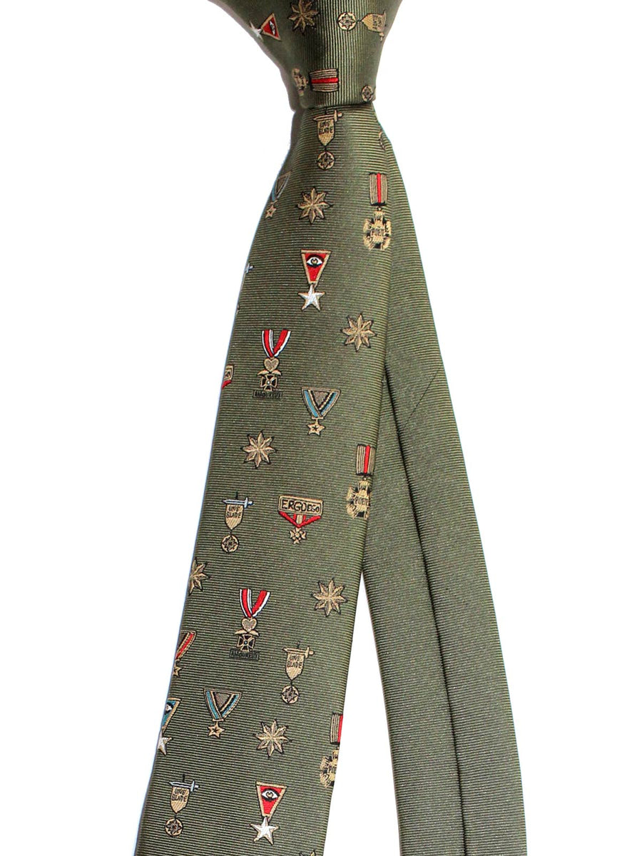 Valentino Skinny Tie - Military Green Medals Design