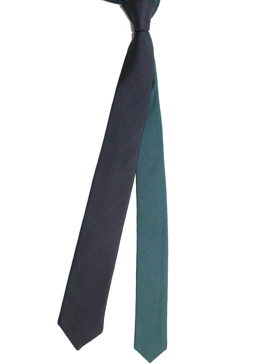 Valentino Skinny Tie - Dark Blue Solid Reversible Design