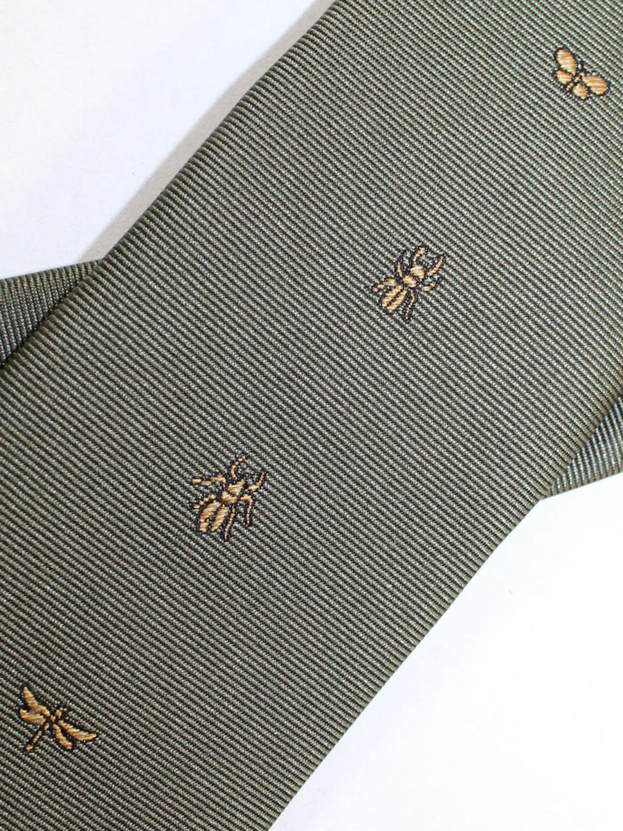 Valentino Skinny Tie - Military Green Insects Design