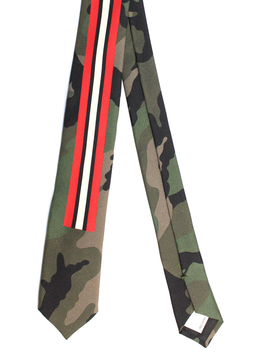 Valentino Skinny Tie - Green Red White Black Camouflage Stripes