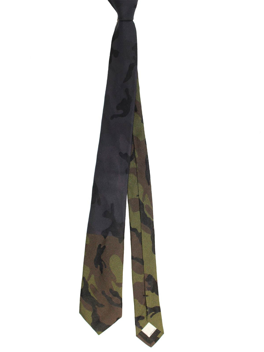 Valentino Skinny Tie Military Green Gray Camouflage